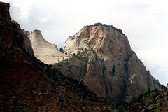 34-217 (ndpa / s. lundeen, archivist) Tags: nick dewolf nickdewolf color photographbynickdewolf 1970s 1973 film 35mm 34 reel34 utah southwestutah southwesternunitedstates zionnationalpark nationalpark mountain mountains sky clouds peak peaks rocks rocky outcropping rock crag