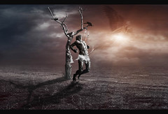 Moonlight Shadow... (Poseidon...) Tags: light tree texture photomanipulation photoshop dark sad spirit arrows crows ravens photomanipulate