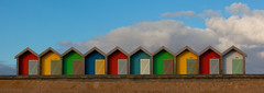 Beach Huts (Boyd Hunt) Tags: uk summer sky beach clouds sand holidays doors colours bluesky northumberland promenade sheds eastcoast blyth