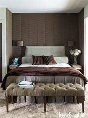 Tranquil bedroom + linen walls (SarahKaron) Tags: inspiration mountains bench bedroom interiors interior northcarolina ideas interiordesign housebeautiful mountainhouse interiordesigner ericpiasecki ruardveltman