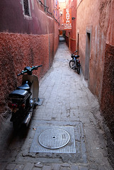 Marrakech (blasaure) Tags: color texture alley pavement scooter marrakech walls narrow oldcity