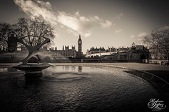 The clock (Paki Nuttah) Tags: city bridge houses bw white house black london water fountain mono blackwhite big cityscape ben parliament westminister