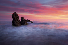 31 flavors (Andy Kennelly) Tags: ocean california sunset sea motion bird ice beach wet reflections intense rocks colorful long exposure day waves pacific cloudy cream malibu 31 flavors stacks