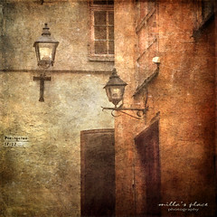 City Lights (Milla's Place) Tags: street old city windows buildings lights doors sweden stockholm textures citylights lanterns gamlastan lamps textured millasplace distressedjewell magicunicornverybest
