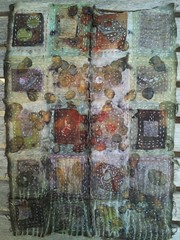 patchwork silk collage (Living&Dyeing) Tags: silk handstitched naturaldye ecoprint michellehoffee livinganddyeing