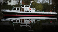 Impressionist Cruise Ship (frischauge) Tags: cruise red black color reflection green water river painting mirror boat colorful paint ship upsidedown sony cybershot flip painter impressionism rhine ruhr rx100 dscrx100 wsobject