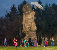 The Spirits of Ishtar group dance around  the 9m high Wicker Man at the 2013 Beltain Festival held at Butser Ancient Farm (Anguskirk) Tags: uk england may hampshire bellydancers beltane beltain celticfestival wickerman chalton butserhill 2013 butserancientfarm ancientceremony spiritsofishtar