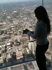 en el #SkyDeck de la WillisTower, muy bueno y aaaalto!! Jeje