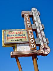 Far East Restaurant, Stockton, CA (Robby Virus) Tags: california food sign restaurant neon chinese east eat american stockton far verticallystackedletters