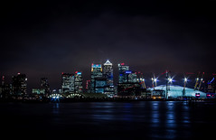 City Of London at Night... (P1ay) Tags: longexposure blue wallpaper blackandwhite lightpainting london canon river airplane photography blackwhite photographer explore docklands canary canarywharf riv