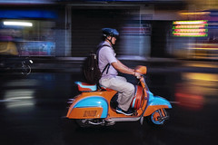 Beautiful Vespa (-clicking-) Tags: streetphotography streetlife panning colorful life dailylife motion saigon vietnam night nightshot nightlight
