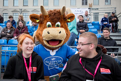 Homeless World Cup 2016, George Square, Glasgow, Scotland - 16 July 2016 (Homeless World Cup Official) Tags: hwc2016 homelessworldcup aballcanchangetheworld thisgameisreal streetsoccer glasgow soccer volunteers hamish cow mascot scotland