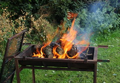 Preparation (Graham`s pics) Tags: bbq barbecue fire heat warmth flames flame