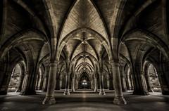 Cloisters (ScottSimPhotography) Tags: cloisters university glasgow arches stone brick columns undercroft under crypt church scotland uk britain dark darkness building famous travel trip visit