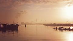 P1030527hsvf (hans hoeben) Tags: harborsunrisemorning reprocessed adm sunrise mist fog amsterdam panasonic lx2 lumix holland dutch harbour
