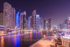 Dubai Marina (http://arnaudballay.wix.com/photographie) Tags: architecture dubai jumeirah landscape longexposure miratsarabesunis ae dubaimarina jbr boat cityscape nightscape uae emirates lighttrail fil emaar