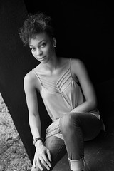 Portrait of Monique (Beth Reynolds) Tags: friend portrait blackandwhite alley urban naturallight fashion smile sidelight monochrome woman beautiful