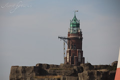 Lighthouse (Foto-Aestheticus) Tags: lighthouse brick red blue sky clouds cloud summer outside outdoor stone bremerhaven clinker harbor harbour germany bakestone canon green