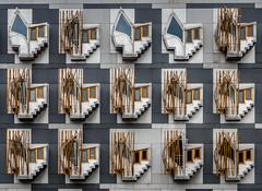 The Scottish Parliament (derek.dpr) Tags: scottish parliament scottishparliament architecture architectural elevation facade enric miralles modern olympus omd em5 scotland edinburgh window windows