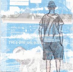 # 247 (03-09-2016) (h e r m a n) Tags: herman illustratie tekening bock oosterhout zwembad 10x10cm 3651tekenevent tegeltje drawing illustration karton carton cardboard back rug rucke ruggenfiguur ruckenfigur boy jongen