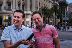 Something has tickled them (Paul & Geoff) Barcelona - Spain (Panasonic Lumix DMC-LX100 Compact) (1 of 1) (markdbaynham) Tags: group people barcelona panasonic dmclx100 lx100 compact 2475mm f1728
