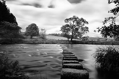 Stepping Stones (Mart_in_MCR) Tags: whitewell lancashire lancs river stepping stones forestofbowland troughofbowland water nd longexposure sky trees nature grass fields england northwestengland northern bw blackandwhite