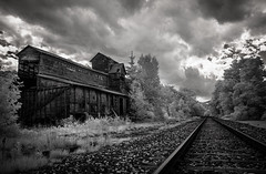 Randolf Coal and Ice (Rodney Harvey) Tags: abandoned coal ice railroad train tracks infrared vermont randolf distance rural decay