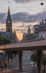 Faces of Liverpool (alun.disley@ntlworld.com) Tags: liverpool dalestreet municipalbuilding liverbuilding sunset city cityscape streetscene weather clouds flyover architecture clocks roads vehicles merseyside uk clocktowers trafficlights landscape panorama england sky