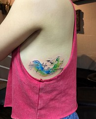 watercolor (ktattoo2711) Tags: tattoo tattooist tattoos xm art artist watercolor smalltattoo si gn saigon saigonese vietnam vietnamese draw drawing compass watercolortattoo sketch sketching flower dotwork linework number letter lettering quotes caligaphy indoor people bird
