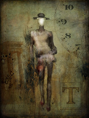 Faceless in Time (jimlaskowicz) Tags: mysterious art timepiece clock face time walk model grunge artistic textures layers surreal dark collage faceless