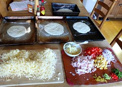 Ready for 'Make Your Own Pizza' night (Ruth and Dave) Tags: pizza homemade dough base toppings cheese grated vegetables peppers chilli pineapple ham meat hawaiian corn sweetcorn tomato redonion dinner makeyourown selfassembly