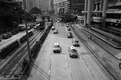 Life in Motion- HK (EHA73) Tags: queenswayroad monochrome bw blackandwhite hongkong typ246 leicamm leica summicronm1228asph travel road tram taxi cars transportation street streetphotography