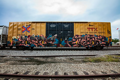(o texano) Tags: houston texas graffiti trains freights bench benching avert