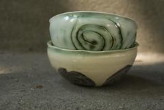 two small white bowls with swirls (karenchristine552) Tags: utata:project=goarts ceramics clay pottery universitycity westphiladelphia