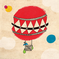 to soar... (gilkin) Tags: red sky man hot illustration clouds mix media acrylic air balloon bags rise