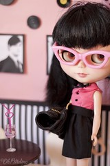 A date. (Cherryta) Tags: pink black vintage movie glasses retro grease oh 50s lounging lovely custom rement 50 takara melina baccarita bltythe