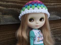 Mirabeau in her rainbow beanie