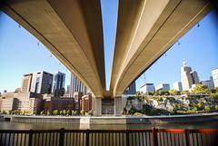 Wabasha Street Bridge (original test shot, 2011) (HolmDesigns) Tags: city bridge minnesota architecture river downtown stpaul symmetry mississippiriver twincities saintpaul mn nikond60