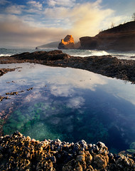 As reliable as the tide (Zeb Andrews) Tags: ocean film beach oregon analog sunrise mediumformat landscape coast pacificocean pacificnorthwest oregoncoast 6x7 tidepool pacificcity capekiwanda pentax6x7 bluemooncamera
