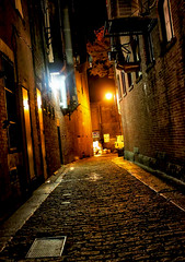 The Alley (Gary Burke.) Tags: road street city usa boston architecture night america canon dark ma eos rebel evening us alley sinister massachusetts newengland creepy cobblestone alleyway dslr unionstreet cobblestonestreet garyburke klingon65 t1i canoneosrebelt1i