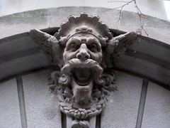 Gargoyle 8559 (Brechtbug) Tags: park street new york city nyc building art face birds monster stone architecture laughing fur mask dwarf manhattan lexington painted magic side decoration feathers feather like lord east gargoyle uptown rings tiles clay type gollum avenue creature decor golem between glazed 66th 2013
