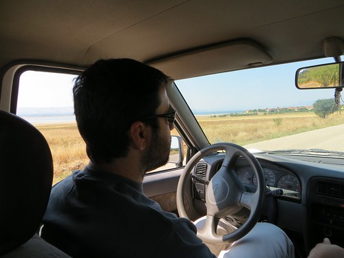 Okan manages to keep the car on the road in Burdur