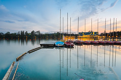 Sunset at Maschsee, Hannover (Michael Abid) Tags: sunset lake clouds germany boat hannover hanover maschsee
