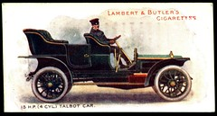 Cigarette Card - 15hp Talbot, 1908 (cigcardpix) Tags: vintage advertising ephemera automobiles cigarettecards motorcar