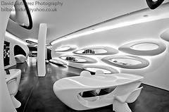 London Roca Gallery Design (david gutierrez [ www.davidgutierrez.co.uk ]) Tags: uk light blackandwhite sculpture white london art water glass architecture modern bathroom photography design display geometry interior space shapes culture engineering research showroom waterdrops futuristic roca pods zahahadid tiledfloor innovative davidgutierrez bestcapturesaoi pentaxk5 rocagallery