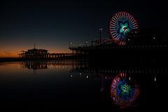 Santa Monica pier 3 (kara adomaitis) Tags: ocean california santa sunset reflection water wheel night lights pier ferris historic monica boardwalk