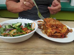 Lasagna & salad (easegill) Tags: food salad lasagna