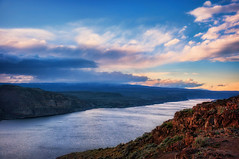 Wanapum Vista (Gabriel Tompkins) Tags: travel blue red sky usa water rock clouds river landscape washington haze nikon day cloudy scenic columbiariver strata pacificnorthwest vista nikkor washingtonstate viewpoint pnw i90 vantage 18105 stratum d90 riverscape wanapum leadingline 2013 kittitas inlandnorthwest 18105mm nikond90 18105mmf3556gvr tronam gabrieltompkins