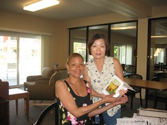 World Book Night Volunteer Group Book Giver Suzanne Yamamoto with Book Recipient @ Hayward Area Senior Center - April 23, 2013 - Hayward, California - 001 (Hayward Public Library) Tags: california reading libraries books literacy thelanguageofflowers cityofhayward 94541 haywardpubliclibrary vanessadiffenbaugh worldbooknight2013