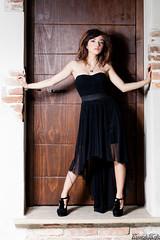 Martina Polopoli n.7 (Riccardo Mollo) Tags: door black muro girl wall model dress porta nero ragazza collana modella vestito necklance